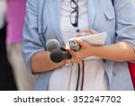 journalist. news conference. | Shutterstock . vector #352247702
