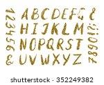 handwritten alphabet  gold... | Shutterstock .eps vector #352249382