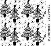 seamless christmas monochrome... | Shutterstock .eps vector #352249682