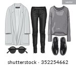 lady fashion set of autumn... | Shutterstock .eps vector #352254662