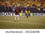 EAST RUTHERFORD NJ - AUGUST 12: Luis Parea #14 of Colombia handles the ball against Venezuela during the International Friendly match at Giants Stadium on August 12 2009 in East Rutherford NJ - stock photo