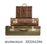 stack of vintage leather... | Shutterstock . vector #352261346