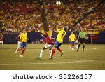 EAST RUTHERFORD NJ - AUGUST 12: Ivan Cordoba #2 of Colombia handles the ball against Venezuela during the International Friendly match at Giants Stadium on August 12 2009 in East Rutherford NJ - stock photo