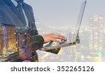 double exposure of businessman... | Shutterstock . vector #352265126