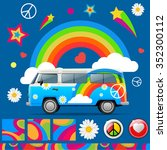 set of color hippie vector... | Shutterstock .eps vector #352300112