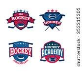 hockey logo set sport identity...   Shutterstock .eps vector #352315205
