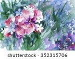 watercolor pink flowers in the... | Shutterstock . vector #352315706