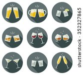clinking glasses vector icons.... | Shutterstock .eps vector #352327865