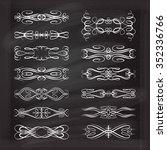 set of elegant white flourishes ... | Shutterstock .eps vector #352336766