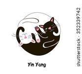 cat yin yang  vector graphics | Shutterstock .eps vector #352339742
