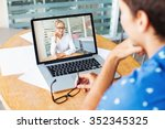 video call. woman and man... | Shutterstock . vector #352345325