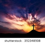 Silhouette Crosses On A Hill ...