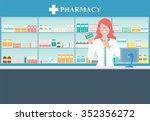 female pharmacist at the... | Shutterstock .eps vector #352356272