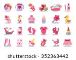 flat baby icons set for newborn ... | Shutterstock . vector #352363442