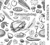 hand drawn sketch thanksgiving... | Shutterstock . vector #352365176