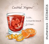 negroni alcoholic cocktail ... | Shutterstock . vector #352366016