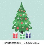 fir tree and presents | Shutterstock .eps vector #352392812