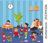 kindergarten. young teacher... | Shutterstock .eps vector #352394186