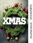 christmas composition on dark... | Shutterstock . vector #352405892