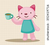 animal having afternoon tea... | Shutterstock .eps vector #352419716