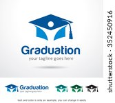 graduation logo template design ... | Shutterstock .eps vector #352450916