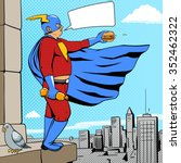 superhero fat man with burger... | Shutterstock .eps vector #352462322