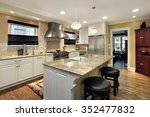 kitchen with white cabinetry... | Shutterstock . vector #352477832