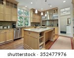 kitchen with oak wood cabinetry ... | Shutterstock . vector #352477976