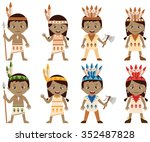 american indian   tribal kids | Shutterstock .eps vector #352487828