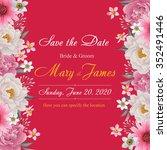 flower wedding invitation card  ... | Shutterstock .eps vector #352491446