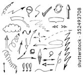 vector hand drawn arrows set... | Shutterstock .eps vector #352493708