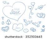 set of romantic love ornaments...   Shutterstock .eps vector #352503665