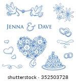 set of romantic love ornaments...   Shutterstock .eps vector #352503728
