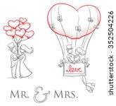 cartoon love wedding couple... | Shutterstock .eps vector #352504226