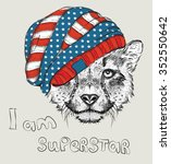 hand draw cheetah in a usa hat. ... | Shutterstock .eps vector #352550642