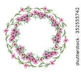 peach floral border circlet ... | Shutterstock . vector #352555742