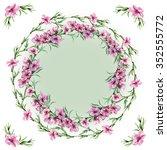 peach floral border circlet ... | Shutterstock . vector #352555772