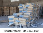 cement bags in a row on the... | Shutterstock . vector #352563152