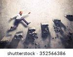 man climbs the steps of... | Shutterstock . vector #352566386