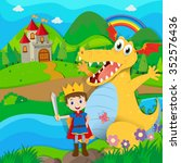 knight and dragon on the fairy... | Shutterstock .eps vector #352576436