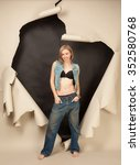 girl in lingerie and jeans in... | Shutterstock . vector #352580768