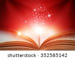 abstract red magic book on red... | Shutterstock . vector #352585142