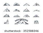 mountain icons set. line art.... | Shutterstock .eps vector #352588346