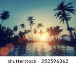 tropical beach with palm trees... | Shutterstock . vector #352596362