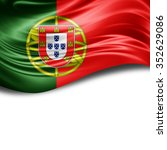 portugal flag of silk with... | Shutterstock . vector #352629086