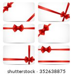 gift card set with red ribbon... | Shutterstock . vector #352638875