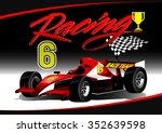 red open wheel racing car with... | Shutterstock . vector #352639598