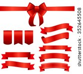 red ribbon and bow set.... | Shutterstock . vector #352645508