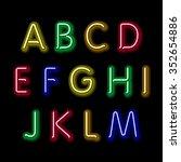 neon glow alphabet. design... | Shutterstock . vector #352654886