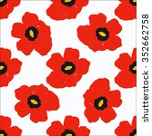 colorful hand drawn poppies ... | Shutterstock .eps vector #352662758